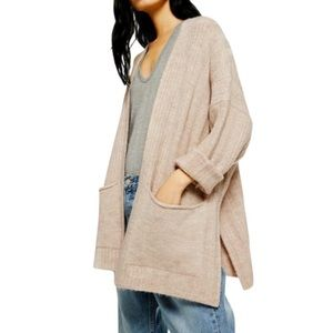NEW TOPSHOP Oatmeal Open Front Cardigan